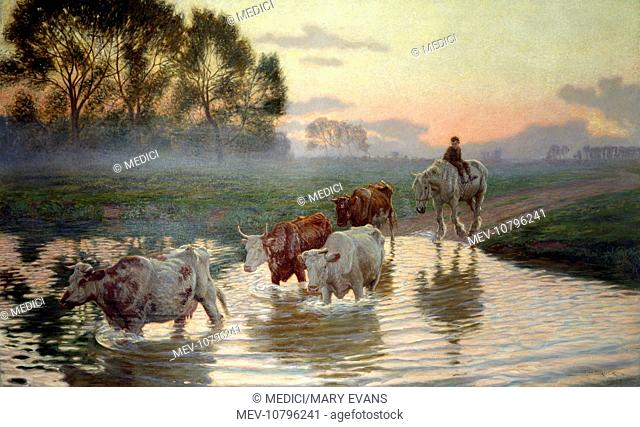 The Ford (1904) – cattle crossing ford followed by boy on horse