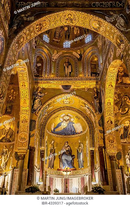Byzantine mosaic of Christ Pantocrator in the apse and presbytery, Cappella Palatina, Palatine Chapel of the Palace of the Normans or Royal Palace of Palermo