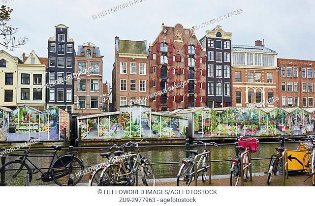 Bloemenmarkt (Amsterdam Flower Market) founded in 1862 the world's only floating flower market, Singel, Amsterdam, Holland