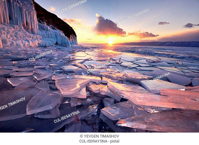 Broken ice at sunset, Baikal Lake, Olkhon Island, Siberia, Russia