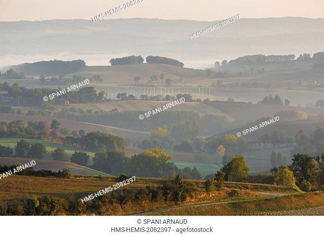 France, Tarn, Puylaurens, the Tarn hills at sunrise in autumn sun