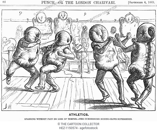 'Athletics', 1869. Then, as now, boxing was a dangerous sport and, in this cartoon, Punch offers advice on a means of increasing its safety
