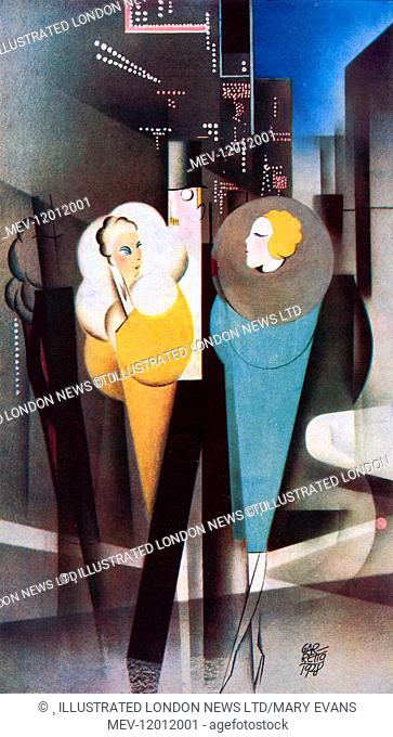 Caricature by Garretto giving an impression of London nightlife during the season of 1928. Two glamorous women dressed in fur collared evening coats are...