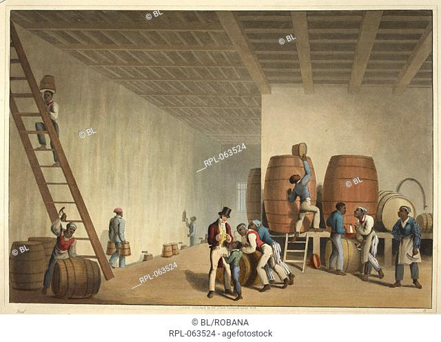 Interior of distillery Slaves loading Rum Barrels. Image taken from Ten Views in the Island of Antigua in which are represented theprocess of sugar making and...