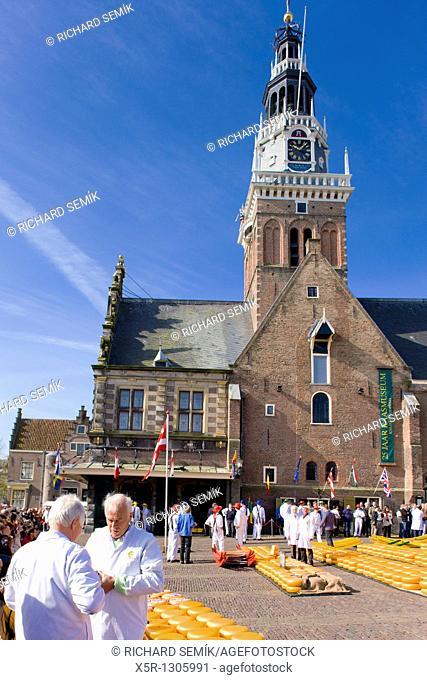 cheese market in front of town hall, Alkmaar, Netherlands