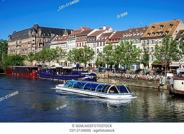 Tour boat and Quai des Pêcheurs fishermen quay Strasbourg Alsace France