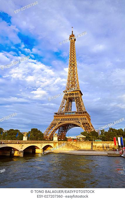 Eiffel tower at sunset in Paris France