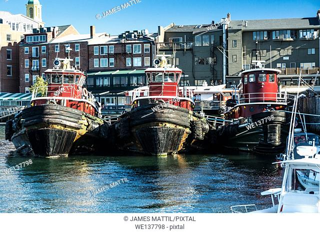 A small fleet of tugboats is moored in the harbor in Portsmouth, New Hampshire