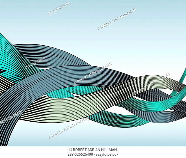Abstract editable vector design of ribbons in woodcut style