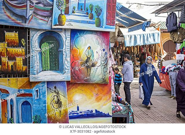 paintings, souvenir shop, Souika street, medina, Rabat. Morocco