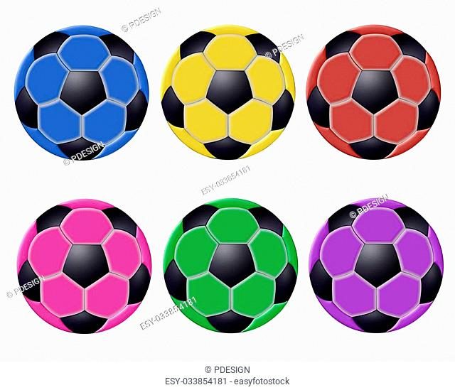 colored soccer balls isolated