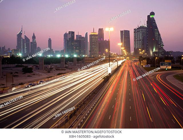 Busy traffic on Sheikh Zayed Road at dusk in Dubai in United Arab Emirates