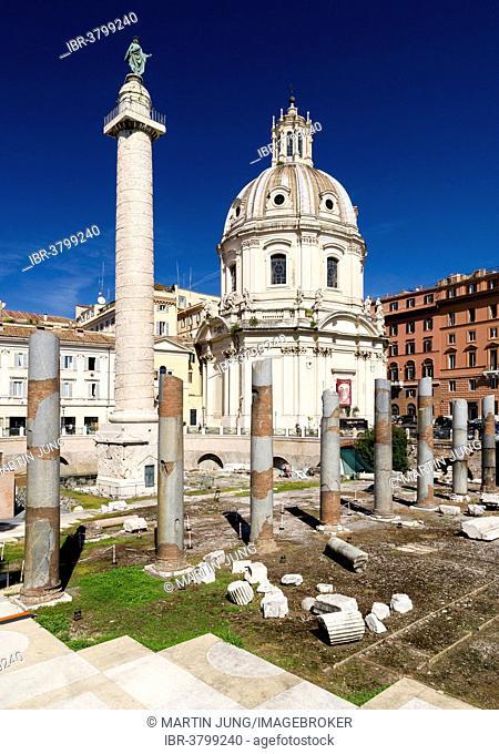 Trajan's Forum with the Trajan's Column and the columns of Basilica Ulpia, Church Chiesa SS Nome di Maria e Bernardo, Rome, Lazio, Italy