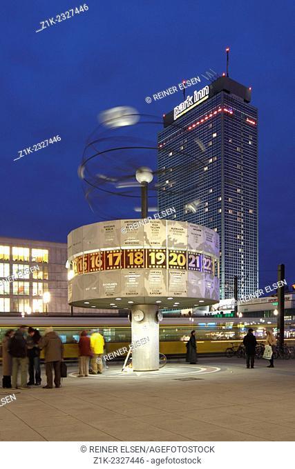 Berlin Alexander square World Time Clock hotel park in