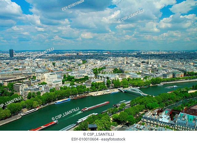 View of river Seine and Paris