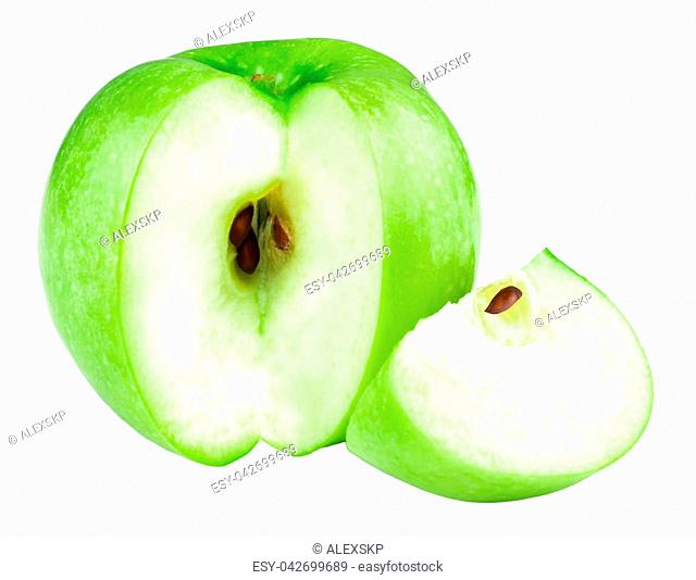 Green apple fruits and slices of apple isolated on white background
