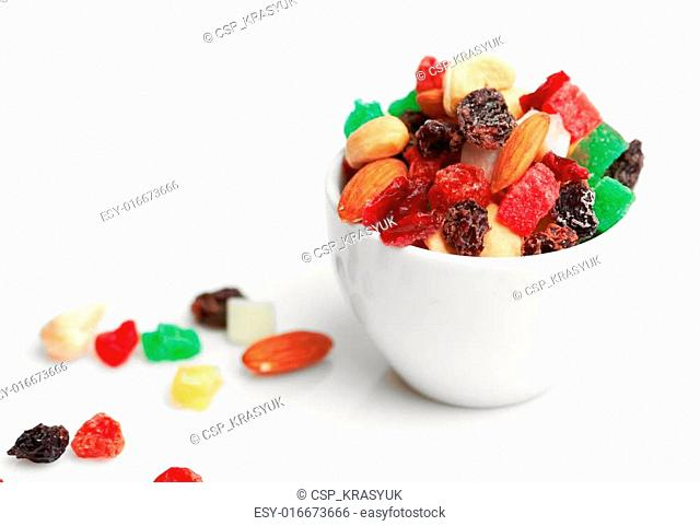 mix dried fruits and nuts in cup