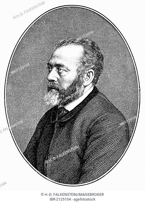 Historical print, portrait of Berthold Auerbach or Moses Baruch Auerbacher, 1812 - 1882, a German writer, from Bildatlas zur Geschichte der Deutschen...