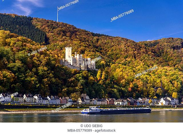 Germany, Rhineland-Palatinate, upper Middle Rhine Valley, Koblenz, district Stolzenfels, Stolzenfels Castle, view from Lahnstein