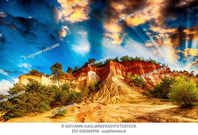 Panoramic view of Colorado Provencal rocks and vegetation, France