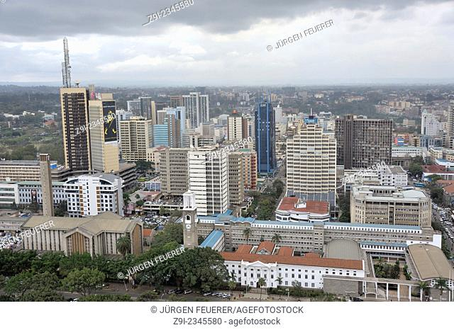 View of the town Nairobi, white building of the city hall in the foreground, Nairobi, Kenya