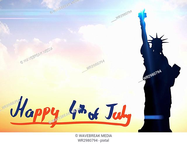 Fourth of July graphic at bottom of evening sky next to statue of liberty