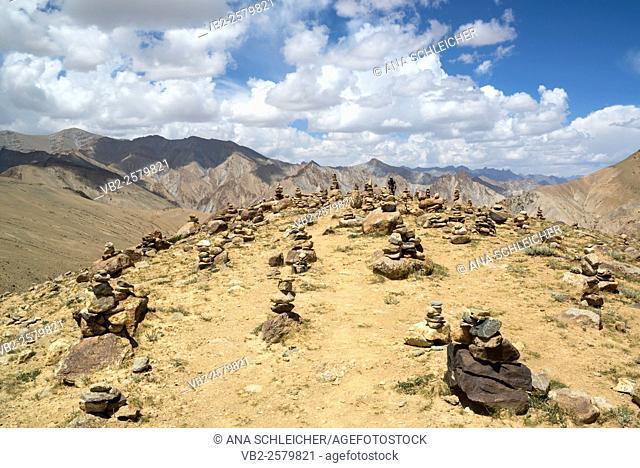 Stone piles. Trekking in Markha valley (Laddakh, India)