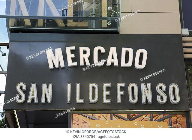 San Ildefonso Market Sign, Fuencarral Street, Madrid, Spain