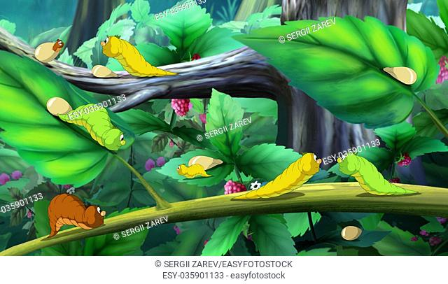 Beautiful Caterpillars Crawls on a Tree. Digital painting cartoon style full color illustration