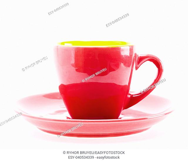 Red Color Cup On Plate Isolated On White Background