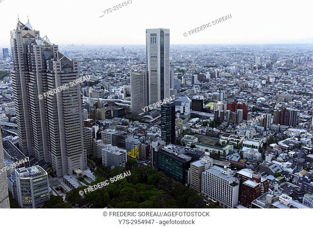 Aerial view of the Japanese capital city seen from the Metropolitan Govemment Building (Tokyo CityHall, Japan,Asia