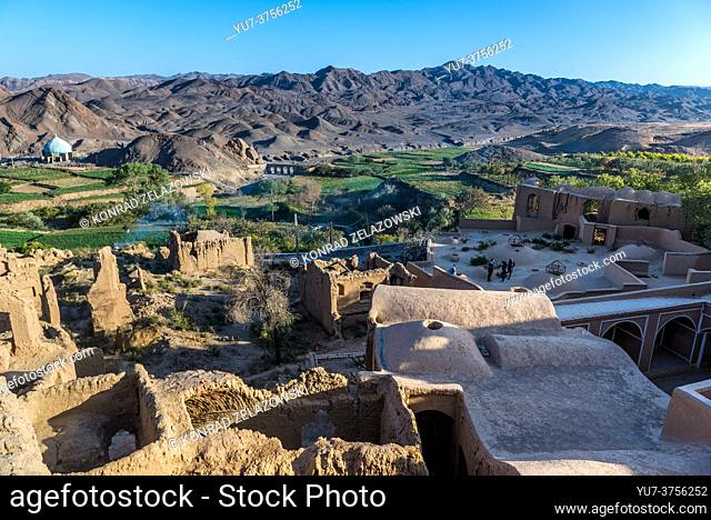 Rooftops of old, abandoned part of Kharanaq village in Ardakan County, Yazd Province, Iran