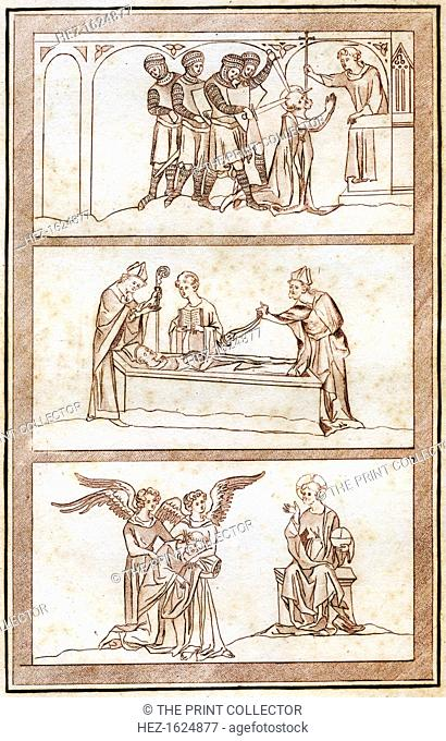 The Life of Thomas Becket, (1801). Scenes from the life of St Thomas a Becket (1120-1170). Assassination of Becket and Entombment