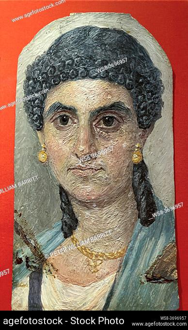 Woman in a Blue Mantle, 54-68 AD, Painted Mummy Portrait, Metropolitan Museum of Art, Manhattan, New York City, USA, North America