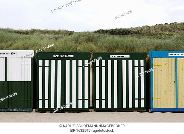 Coloured beach huts, Zoutelande, Walcheren peninsula, Zeeland province, Netherlands, Benelux, Europe