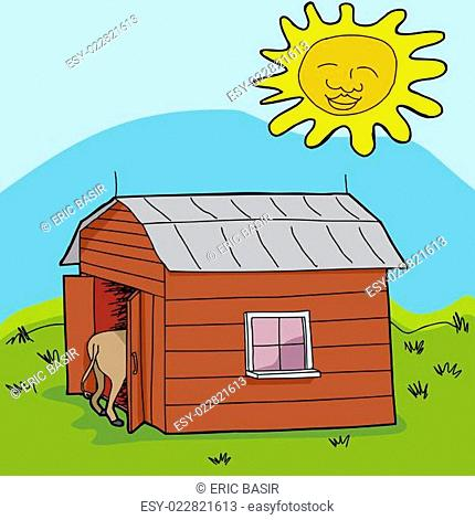 Sun Over Small Barn