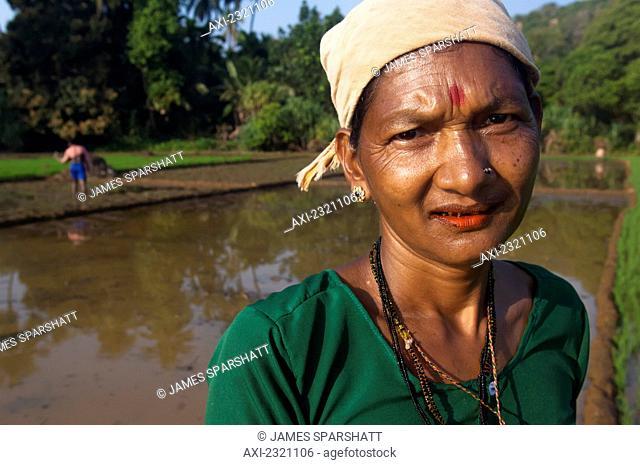 India, Karnataka, Portrait of female worker in paddy fields; Gokarna