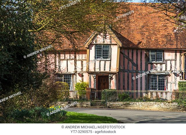 Nether Hall, a half-timbered building in the village of Cavendish, Suffolk, England UK