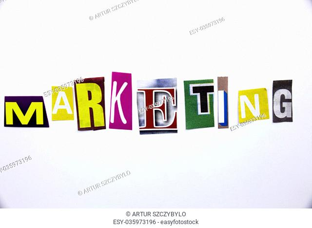 A word writing text showing concept of Marketing made of different magazine newspaper letter for Business case on the white background with space