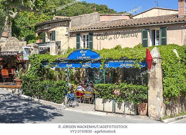 Coffee shop, Ramatuelle, Var, Provence-Alpes-Cote d`Azur, France, Europe