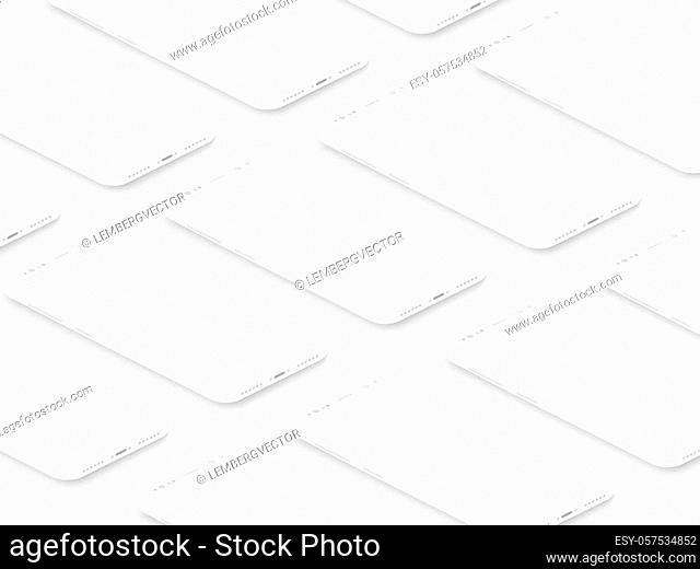Soft isometric white isometric realistic smartphones with blank screens grid. Empty screen phone template for inserting UI interface or business presentation