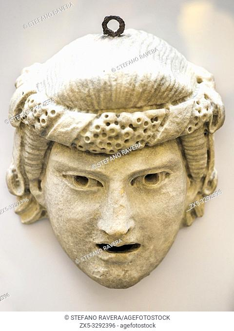 Stone dramatic mask. Roman 1st- 2nd century AD. Stone masks were made to decorate both public and private spaces and for dedication in shrines