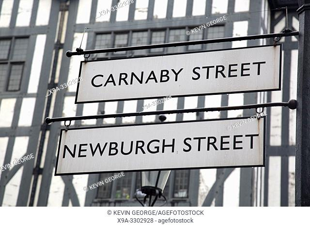 Carnaby and Newburgh Street Sign; London; England; UK