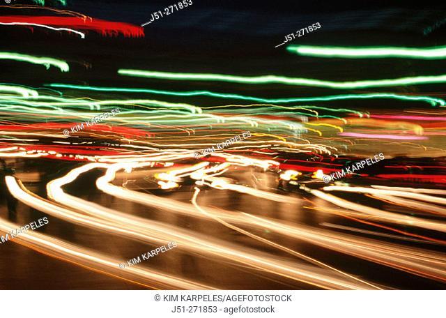 Car lite streaks. Massachusetts. USA