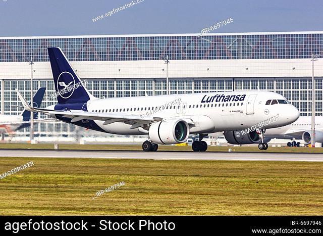 A Lufthansa Airbus A320neo with the registration D-AINU at Munich Airport, Germany, Europe