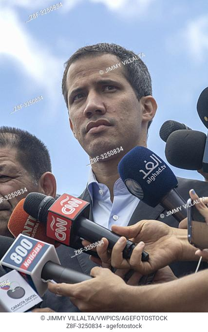 The interim president of Venezuela, Juan Guaidó, arrives at the mobilization of the transport sector that reiterates its support for the interim government and...