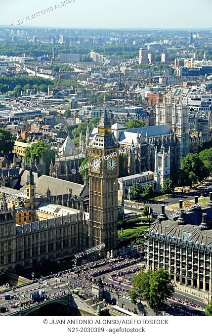 The Big Ben Tower, the Houses of Paliament and Westminster Abbey. London, England, Great Britain, Europe