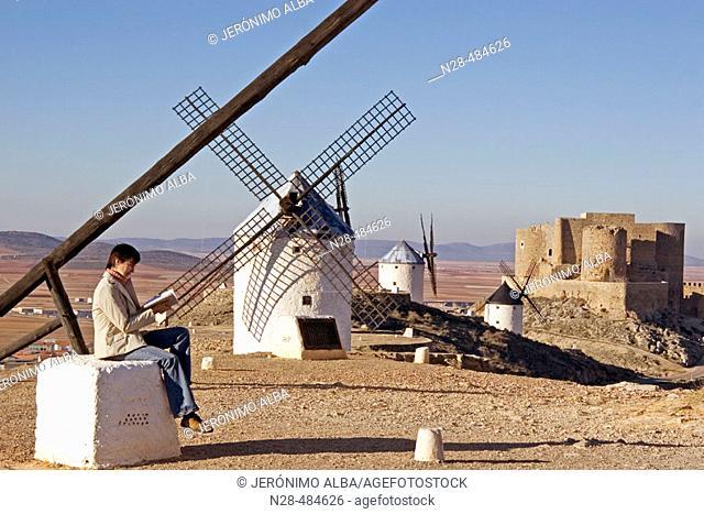 Windmills and castle. Consuegra. Toledo province. Castilla-La Mancha. Spain