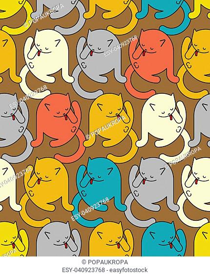 Cat washed pattern seamless. Home pet ornament. Animal texture. Vector illustration