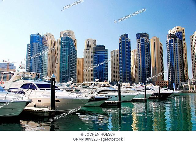 Yachts in Dubai Marina area, Dubai, UAE